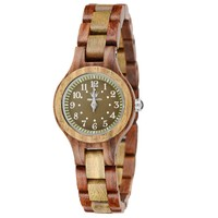 MEKU Womens Wooden Wrist Watch Natural Sandalwood Watch Two Tone Valentine Gift for Her
