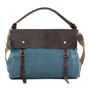 Waxed Canvas Large Messenger Shoulder Bag | Blue