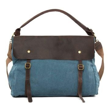 BLUESEBE WOMEN BLUE CANVAS/LEATHER MESSENGER BAG 33683