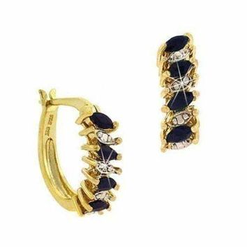 18K Gold over Sterling Silver Sapphire & Diamond Accent Marquise Cut Hoop Earrings