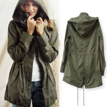 Women's Autumn Solid Hooded Army Green Cotton Military Jacket Trench Parka Coat