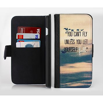 The Pastel Sunset You Cant Fly Unless You Let Yourself Fall Ink-Fuzed Leather Folding Wallet Credit-Card Case for the Apple iPhone 6/6s, 6/6s Plus, 5/5s and 5c