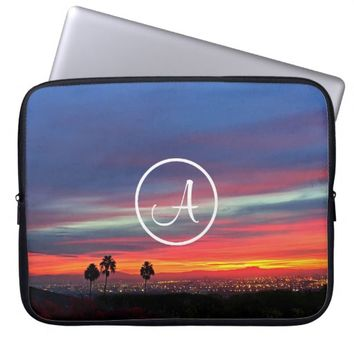 Orange sunrise photo custom monogram laptop sleeve