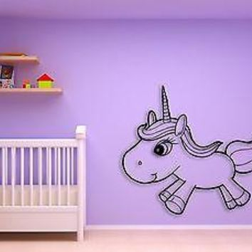 Wall Sticker Baby Unicorn With Lashes Coolest Decor For Kids  Unique Gift z1448