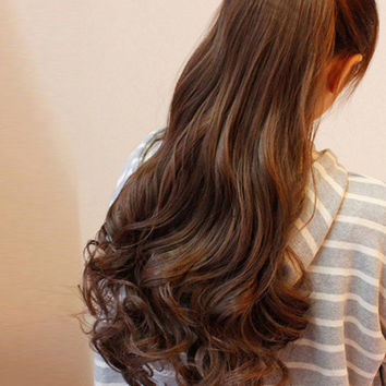 Brown Long Curly Synthetic Hair Extensions