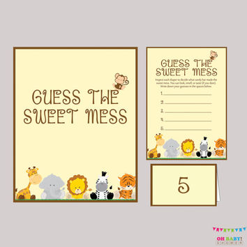 Diaper Candy Bar Game Safari Baby Shower  Printable Guess The Sweet Mess - Game Cards, Sign and Labels Candy Bar Diaper Game - BS0001-N