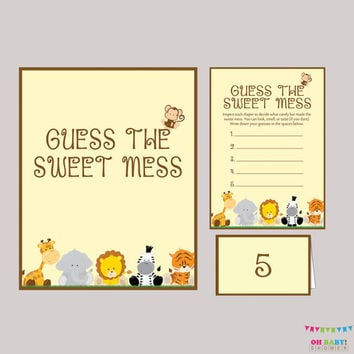 Diaper Candy Bar Game Safari Baby Shower Printable Guess The Sweet Mess    Game Cards,