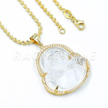 .925 Sterling Silver GOLD Plated Iced out Smiling Chubby Buddha (Clear Jade) Pendant w/ Moon Cut Ball Chain