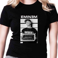 New Eminem Mugshotdesign R FD Womens T-shirt Black and White