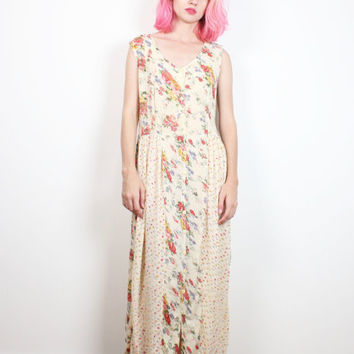Vintage 90s Dress Gauze Cream Mixed Print Floral Midi Dress Maxi Dress Soft Grunge Dress 1990s Dress Boho Patchwork Dress Bohemian M L Large