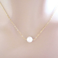 One pearl necklace, simple pearl necklace, minimal, gift pearl necklace, pearl jewelry, bridesmaid necklace, bridal necklace, wedding