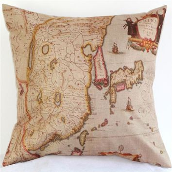 Colorful World Map Cotton Linen Throw Pillow Case Cushion Cover Home Sofa Decorative