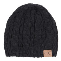 C.C. Beanie Cable Knit Fitted Beanie in Black YJ31A-BLK