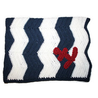 Made To Order Nautical Patriotic Chevron Red White Blue Anchor Hand Crochet Lap Blanket Handmade Afghan Baby Boy Baby Shower Homecoming