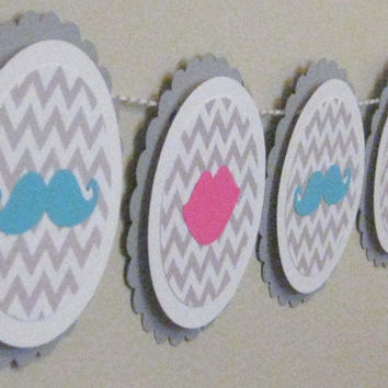 Gender Reveal Banner Baby Shower Garland Mustache and Lips Gray Grey Chevron Bunting