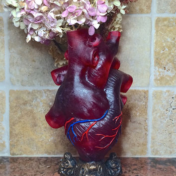 Anatomical Heart Vase, Transparent Red with Veins