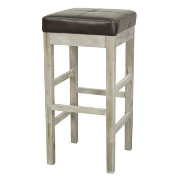 Valencia Bonded Leather Backless Bar Stool Mystique Gray Legs, Coffee Bean