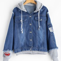 Hooded Patches Frayed Denim Jacket