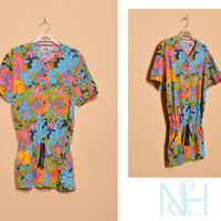Vintage 1990s Bright Floral Tunic with Drawstring Waist