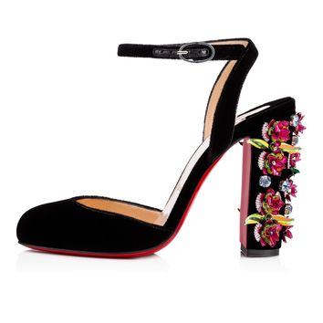 Madonaflor 100 Version Black Embroidery - Women Shoes - Christian Louboutin