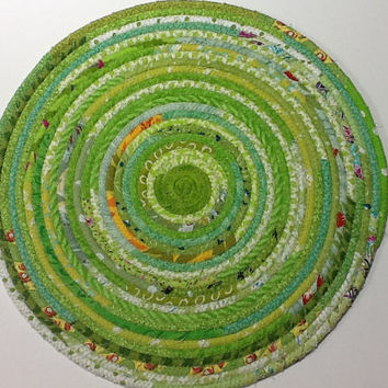 Green Coiled Rope Table Topper, Large Fabric Trivet, Green Placemat, Quiltsy Handmade