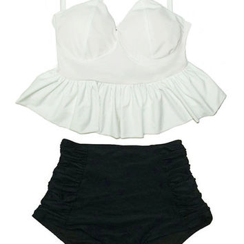 White Long Peplum Hem Top and Black Ruched High waisted waist Highwaist Highwaisted Bottom Swimsuit Bikini set Swim Bathing Suit wear S M
