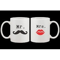 Mr Mustache and Mrs Lips Couple Mugs - His and Hers Matching Mug Cup Set