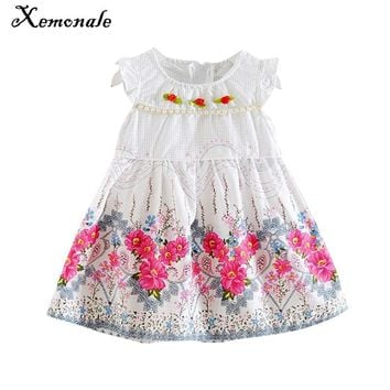 Xemonale Summer New Princess Girl Dress kids Flower printing Girl Dress Children Clothing dress Girls Infantis clothing