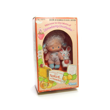 Apricot Doll in Box Vintage Strawberry Shortcake with Pet Hopsalot Bunny Rabbit Toy