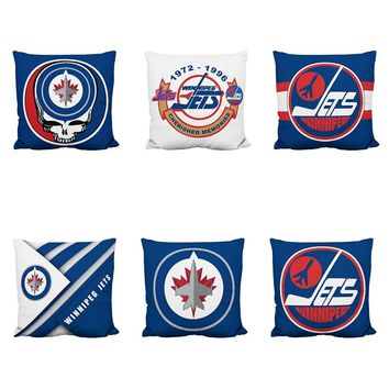 Factory Direct Sale High Quality Cotton Polyester Pillow Case Winnipeg Jets Cushion Cover