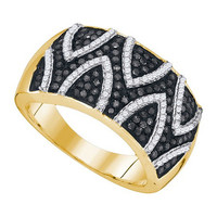 Black Diamond Fashion Ring in 10k Gold 0.65 ctw