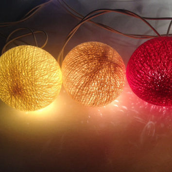 Red String Lights For Bedroom : Cotton ball lights for home decor,party from Icandylighting on