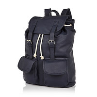River Island MensNavy leather-look backpack