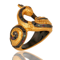 18K Gold Plated Sterling Silver Pave Set Diamond  Ruby And Sapphire Peacock Ring