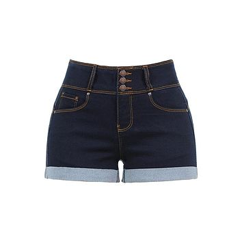 Casual Push Up 3 Buttons Mid Rise Roll Up Hem Denim Shorts