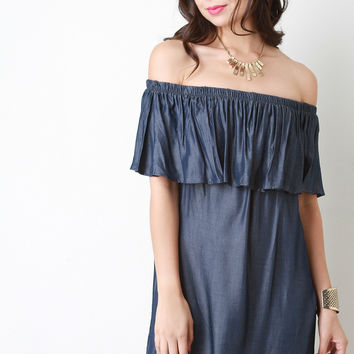 Off The Shoulder Ruffle Shift Dress