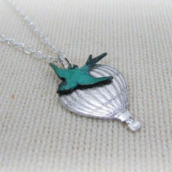 Hot Air Balloon Necklace With Teal Bird Jewelry
