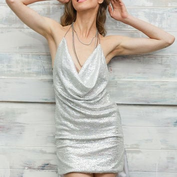 Silver Halter Low Back Mini Dress