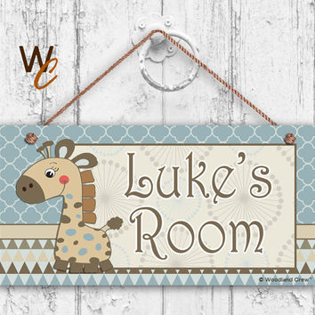 "Nursery Sign, Giraffe Boys Room Sign, Blues and Browns Personalized Sign, Kid's Name, Door Sign, Nursery Art, 5"" x 10"" Sign, Made To Order"