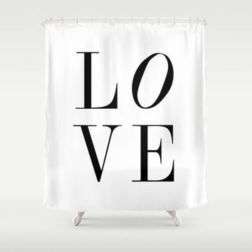 Shower Curtain - LOVE - Black and White Shower Curtain - Black - White - Modern Shower Curtain - LOVE Shower Curtain - Gift Ideas for Her