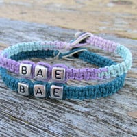 Bracelets for Couples, BAE, Pastel and Aquamarine Handmade Hemp Jewelry - Christmas in July SALE