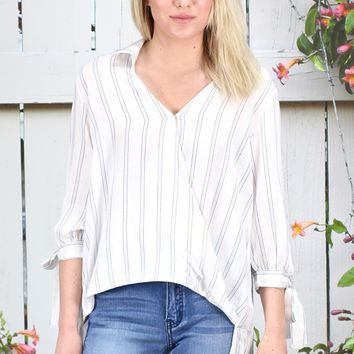 Surplice Stripes 3/4 Tie Sleeve Blouse {L. Blue}