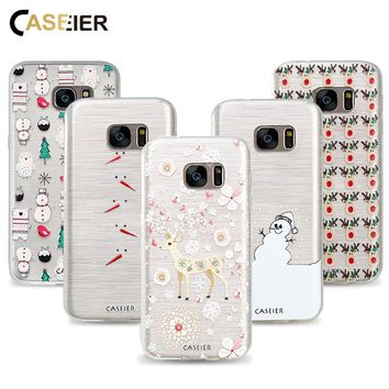 CASEIER Phone Case For Samsung Galaxy S6 S7 Edge S8 Plus Note 8 Cover Soft TPU 3D Christmas Winter Fundas Patterned Capinha
