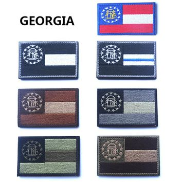 Embroidered Patches United States State Flag Patch Tactical 3D National Flags Georgia Armband Badge