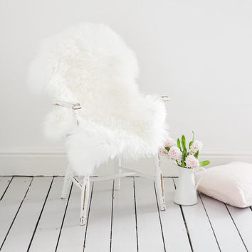 Super Soft Ivory Sheepskin Throw & Rug / Deep pile wool / The Alis