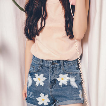 Floral Embroidered Cuffed High Waist Cutoff Denim Shorts