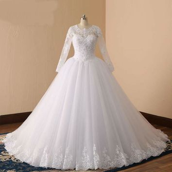 Long Sleeve Wedding Dress Ball Gown Pearls Bridal Gown Luxurious Wedding Gowns Caftan