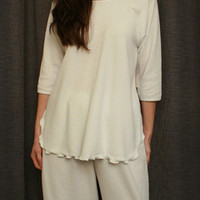 3/4 Sleeve Top & Palazzos Cotton/Poly Basket Weave Made In USA | Simple Pleasures, Inc.