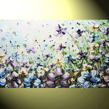 """ORIGINAL Art Abstract Painting Flowers Blue Lavender Poppies White Green Modern Palette Knife Textured Floral Wall Decor 24x48"""" -Christine"""