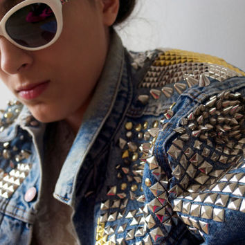 Custom Upcycled Vintage 80s LEVI'S Punk Silver Gold Studded Spiked Denim Blue Jean Jacket / One Size Fits Most